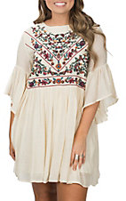 Umgee Women's Natural with Floral Embroidery Peasant Dress