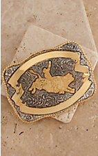 Crumrine Gold and Silver Bull Rider Rectangle Antique Buckle