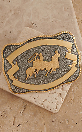Crumrine Gold and Silver Team Roper Rectangle Antique Buckle