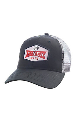 Cinch Men's Black and Grey Mesh Back Patch Logo Embroidered Cap