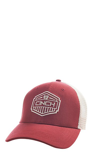 Cinch Men s Red Embroidered Shield Logo Snapback Cap  16203847df3