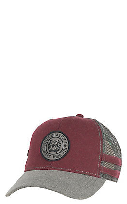 Cinch Burgundy and Grey Circle Logo and Stripes Snapback Trucker Hat