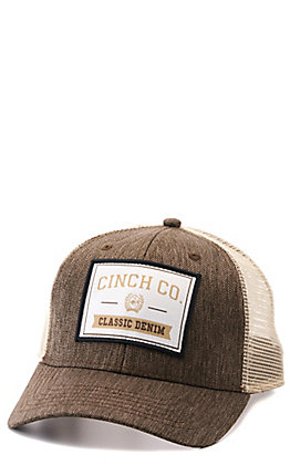 Cinch Brown and Tan with Classic Denim Logo Patch Snapback Cap