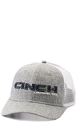 Cinch Grey and White with Navy Block Logo Snapback Cap