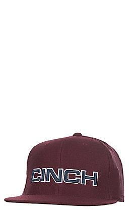Cinch Burgundy with Navy and White Outlined Block Logo Snap Back Cap