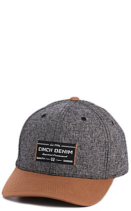 Cinch Heather Grey & Brown Logo Cap
