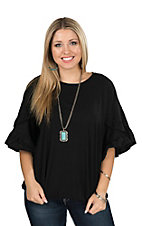 Umgee Women's Black Ruffle Sleeve Fashion Top