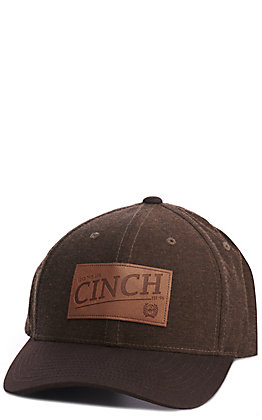 Cinch Brown with Leather Patch Cap
