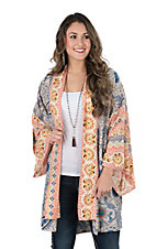 Umgee Women's Denim Multi Print Long Bell Sleeve Kimono