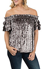 Umgee Women's Titanium Off the Shoulder Velvet Fashion Shirt