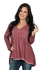 Umgee Women's Rose V-Neck Long Sleeve Peasant Fashion Shirt