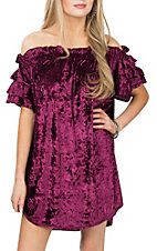 Umgee Women's Maroon Velvet Off the Shoulder Dress