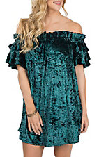 Umgee Women's Teal Off the Shoulder Velvet Dress