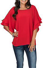 Umgee Women's Layered Ruffle Sleeve Round Neck Fashion Top