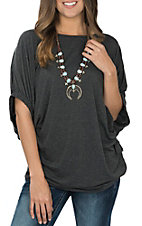 Umgee Women's Charcoal Dolman Tunic Casual Knit Shirt