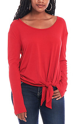 Umgee Women's Red Front Tie Casual Knit Shirt