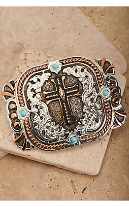 Crumrine Silver and Bronze Cross with Turquoise Stones Rectangle Buckle