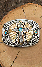 Crumrine Silver Scroll with Copper and Gold Cross with Wings and Turquoise Details Fashion Belt Buckle