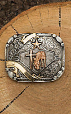 Crumrine Silver with Gold Cowboy Prayer Fashion Belt Buckle