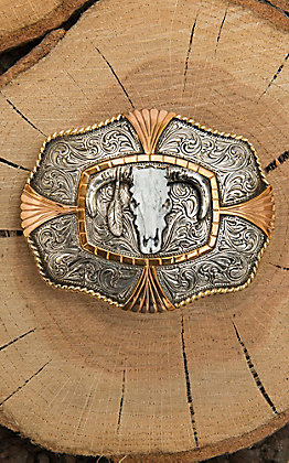 Crumrine Silver Scroll with Gold and Copper Details and Steer Skull Center Fashion Belt Buckle