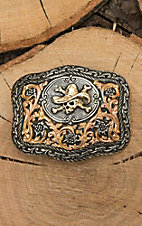 Crumrine Silver with Gold Cowboy Scull Fashion Belt Buckle