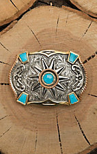 Crumrine Silver Scroll with Copper and Gold Accents and Turquoise Details Fashion Belt Buckle