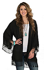 R. Rouge Women's Plus Size Black Cardigan with Fringe Crochet Trim
