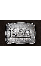 Crumrine Antiqued Silver Cowboy Prayer with Western Scroll Rectangle Buckle