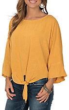 Umgee Women's Mango 3/4 Sleeve Dolman with Front Tie Fashion Shirt