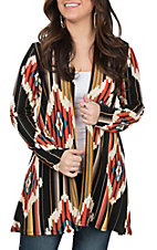 R. Rouge Women's Black and Orange Aztec Cardigan