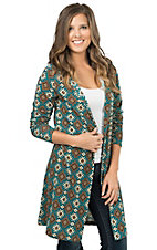 R. Rouge Women's Jade Diamond Print Long Sleeve Hooded Cardigan