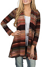R. Rouge Women's Rust Ombre Long Sleeve Cardigan