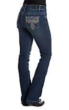 Wired Heart Women's Cross Embroidered Open Pocket Boot Cut Jeans