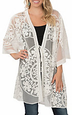 Umgee Women's Cream Floral Lace with Waist Tie Kimono