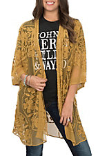 Umgee Women's Mustard Floral Lace Kimono with Waist Tie