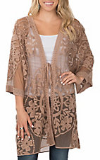 Umgee Women's Brown Floral Lace with Waist Tie Kimono