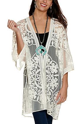 Umgee Women's White Floral Lace with Tie Waist 3/4 Sleeve Kimono