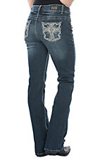 Wired Heart Women's Dark Wash Rhinestone Cross Pocket Boot Cut Jeans