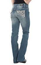Wired Heart Women's Light Wash Swirl Embroidery Flap Open Pocket Boot Cut Jeans