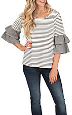 Umgee Women's Striped Round Neck Layered Bell Sleeve Fashion Top