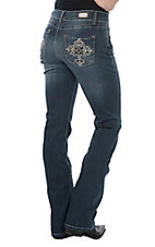 Wired Heart Women's Beaded Cross Pocket Boot Cut Jeans