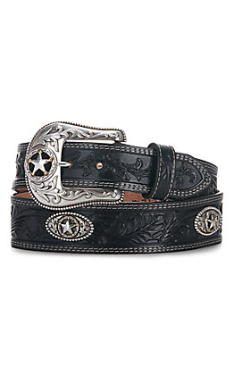 Justin Men's 5 Star Ranch Black Floral Tool Western Belt C12423
