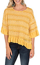 Umgee Women's Mango Yellow Crochet Bell Sleeve High Low Ruffle Top