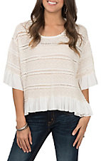 Umgee Women's Natural White Crochet Bell Sleeve High Low Ruffle Top
