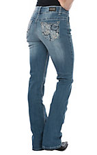 Wired Heart Women's Light Wash Rose Pocket Boot Cut Jeans