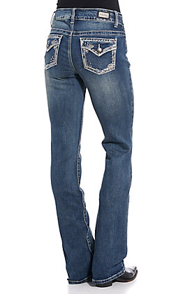 Wired Heart Women's Medium Wash Faux Flap Boot Cut Jeans