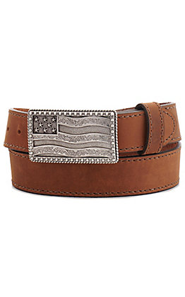 Justin Men's Brown Flying High with Flag Buckle Belt