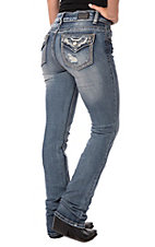 Wired Heart Women's Diamonds Faux Flap Boot Cut Jeans