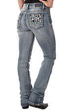 Wired Heart Women's Light Blue Aztec Embroidered Open Pocket Boot Cut Jeans