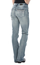 Wired Heart Light Wash Aztec Diamond Pocket Boot Cut Jeans
